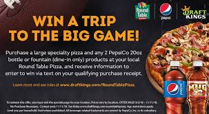 round table pizza draftkings and pepsi are partnering to send one lucky fan to the 2019 big game in atlanta with the ultimate fantasy football