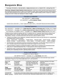 Sample Acting Resume New Acting Resume Sample Monster
