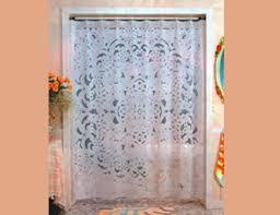 white lace shower curtain. Vinyl Lace Shower Curtain White