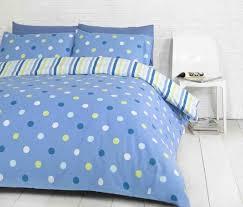 polka dot spots blue green white reversible stripes double duvet cover bed set