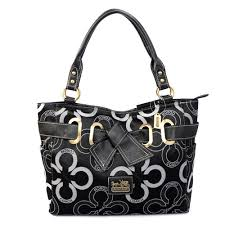 Coach Bowknot In Monogram Medium Black Totes 20347