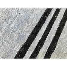 nate berkus black and white kilim rug hemp striped handmade vintage