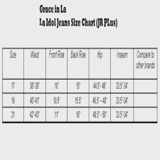 La Idol Women S Jeans Size Chart The Best Style Jeans