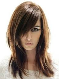 Medium Length Straight Hairstyle With Side Swept Bangs And Layers