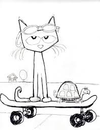 Pete The Cat And His Four Groovy Buttons Coloring Page In Coloring