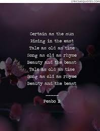 Beauty And The Beast Song Quotes Best of Peabo B Beauty The Beast Certain As The Sun Rising In The East