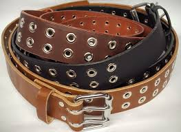solid genuine leather belt with double holes with grommets made in the usa belts are
