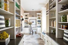 long kitchen pantry with built in desk and shelves