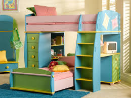 ... Kids desk, Beautiful Cool Rainbow Bunk Beds Ideas With Blue Yellow  Green Kids Bunk Bed ...