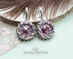 beaded earrings seed bead earrings swarovski earrings lilac earrings amethyst earrings crystal earrings chandelier earrings