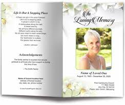 How To Make A Funeral Program White Lilies Funeral Program Template