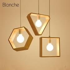 Geometric Pendant Light Nordic Geometric Pendant Lamp Art Wooden Hanging Lamp Dining Room Cafe Bedroom Decor Pendant Lights E27 Socket Modern Luminaire