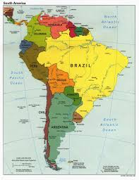 Large Political Map Of South America South America Large