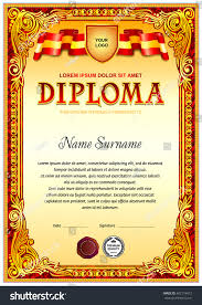 vintage diploma design template red color stock vector  vintage diploma design template in red color