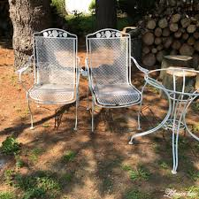 Vintage wrought iron garden furniture White Spray Paint Patio Furniture Before Lehman Lane Spray Paint Patio Furniture Our Vintage Wrought Iron Patio Set