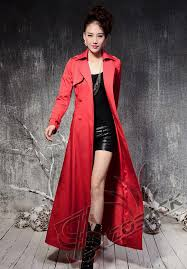 new fashion spring and autumn women black red long trench coat