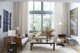 ... Decoration Using Large White Cream Living Room Curtain Including  Rectangular Solid Light Oak Wood Coffee Table And High Ceiling Lighting In  Living Room