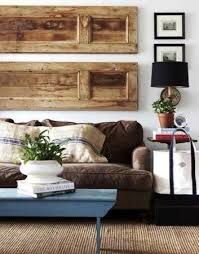an old door repurposed as a wall hanging