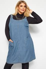 Details About Yours Clothing Womens Plus Size Blue Denim Ring Detail Pinafore Dress