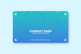 Blue Modern Business Card With Mandala Background