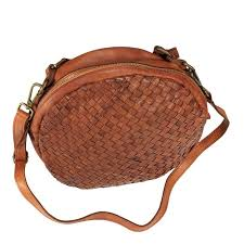 sandra round purse with braided leather