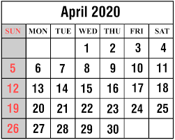 April 2020 Template April 2020 Calendar Printable Monthly Calendar Template