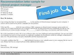 Free Letter Of Recommendation Clinical project manager recommendation letter 95