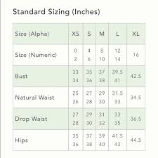 Anthropologie Dress Size Chart Size Guide