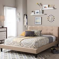 Amazoncom Baxton Studio Quincy Linen Platform Bed Queen Dark Linen Platform Bed