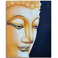 blessing buddha face canvas painting