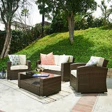 lovely wicker patio furniture house design pictures thy hom bahia 4 piece wicker patio conversation set at