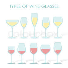 set of types of wine and glasses red white sparkling and dessert wine vector