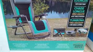 costco 918343 timber ridge zero gravity chair comes with side table and fully reclines