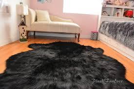sheepskin flokati nursery black bear faux fur area rug baby rugs home accents