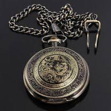 open face bronze antique pocket watches steampunk vintage mens bronze dragon pattern chain necklace quartz pocket watch