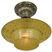 antique amber glass art deco bowl shade ceiling light fixture lighting ant 371 for