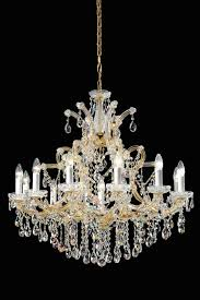 13 light gold plated metal and bohemian crystal chandelier masiero