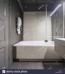 Stilvolle Badezimmer Mit Hellen Fliesen Wänden Es Ist Ein Weißes