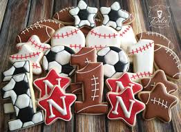 Football Cookie Cake Designs Sport Themed First Birthday Cookies First Birthday Cookies
