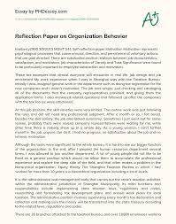 Basic purposes of reflection essays. Reflection Paper On Organization Behavior Phdessay Com
