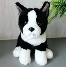adorable black and white dog puppy dolls realistic looking stuffed plush toys gifts s toy terrier with stuffed cute boston small