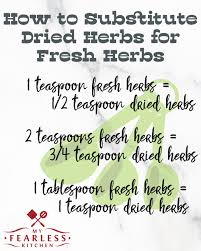 How To Substitute Dried Herbs For Fresh Herbs My Fearless
