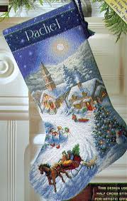 Cross Stitch Stocking Patterns Magnificent Dimensions Sleigh Ride At Dusk Stocking Cross Stitch Kit 48