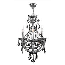 lyre collection 4 light chrome finish and chrome crystal chandelier 16 d x 28