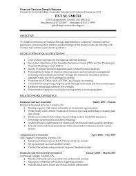 Financial Advisor Job Description Resume