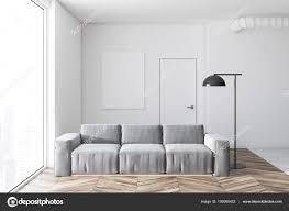 Wit Woonkamer Interieur Met Een Houten Vloer Een Grijze Zachte