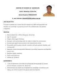 Nurse Resume Format Sample Resume Sample For Fresh Graduate Nurse