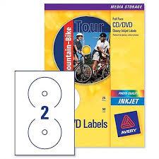 Avery Labels Dvd Avery Cd Dvd Labels C9660 25 Inkjet 2 Per Sheet Diameter 117mm Photo