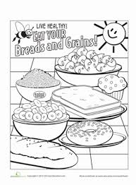 Small Picture Food Groups Breads and Grains Worksheet Educationcom