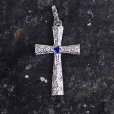 sterling silver and blue cz cross pendant from ghana faithful blue